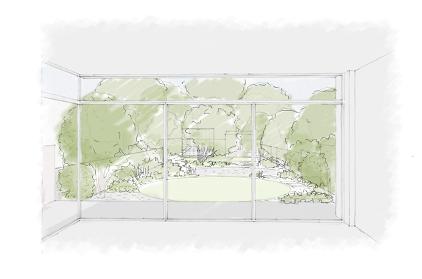 Dulwich woodland garden sketch 2