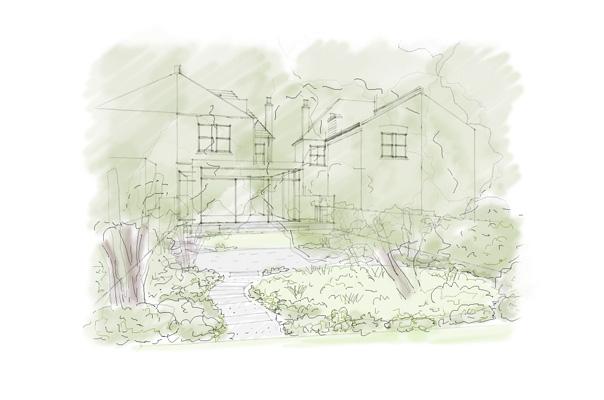 Dulwich woodland garden sketch